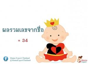 ตั้งชื่อลูก ตั้งชื่อมงคลตามตัวเลข ผลรวมเลขศาสตร์จากชื่อลูก เท่ากับ  34  แปลผลได้ที่นี้
