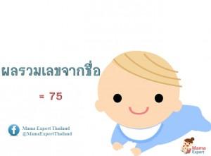 ตั้งชื่อลูก ตั้งชื่อมงคงตามตัวเลข ผลรวมเลขศาสตร์จากชื่อลูก เท่ากับ 75 แปลผลได้ที่นี้