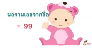 ตั้งชื่อลูก ตั้งชื่อมงคงตามตัวเลข ผลรวมเลขศาสตร์จากชื่อลูก เท่ากับ  99 แปลผลได้ที่นี้