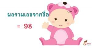 ตั้งชื่อลูก ตั้งชื่อมงคงตามตัวเลข ผลรวมเลขศาสตร์จากชื่อลูก เท่ากับ  98 แปลผลได้ที่นี้