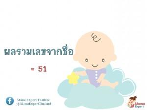 ตั้งชื่อลูก ตั้งชื่อมงคงตามตัวเลข ผลรวมเลขศาสตร์จากชื่อลูก เท่ากับ 51 แปลผลได้ที่นี้
