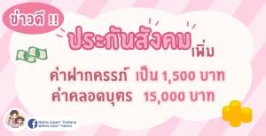 ข่าวดี !!! ประกันสังคมเพิ่มค่าตรวจและฝากครรภ์ 1,500 บาท พร้อมจ่ายค่าคลอดบุตรเพิ่มเป็น 15,000 บาท (เริ่ม 1 มกราคม 64)