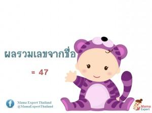 ตั้งชื่อลูก ตั้งชื่อมงคลตามตัวเลข ผลรวมเลขศาสตร์ขากชื่อลูก เท่ากับ 47 แปลผลได้ที่นี้
