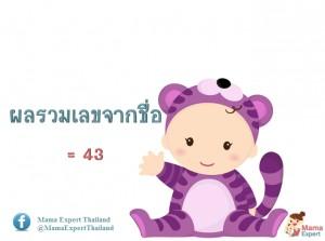 ตั้งชื่อลูก ตั้งชื่อมงคลตามตัวเลข ผลรวมเลขศาสตร์จากชื่อลูก เท่ากับ 43 แปลผลได้ที่นี้