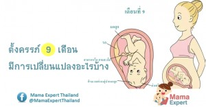 ตั้งครรภ์ 9 เดือน (ท้อง 9 เดือน) การเปลี่ยนแปลงของแม่และพัฒนาการทารกในครรภ์ขณะตั้งครรภ์ 9 เดือน