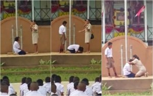 แชร์ว่อน!! ครูบังคับนักเรียนกราบหน้าเสาธง เหตุเด็กอ้างว่าแพ้อาหารทำเสื่อมเสีย